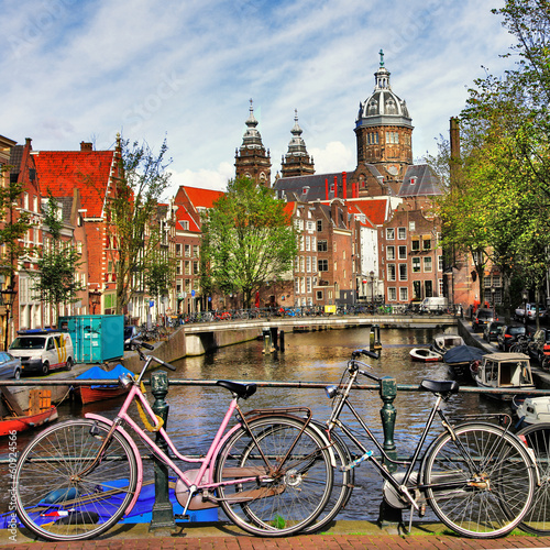 Foto op Canvas Amsterdam Amsterdam, canals and bikes