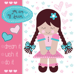 cute rag doll vector illustration