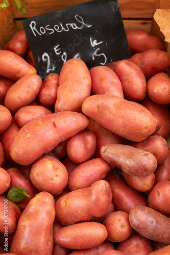 Fresh potatoes on market
