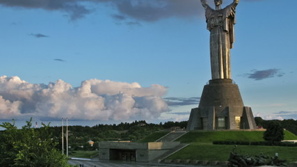 Motherland Monument. Pan and zoom timelapse.