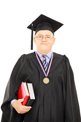 Portrait of a university dean in graduation gown posing