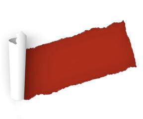 Strappo carta foglio rosso arrotolare arricciare