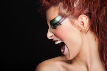 close up portrait of Woman with Make-Up with screaming face expr