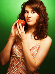 Woman with peaches