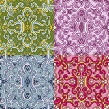 Set of four colorful seamless patterns. Vector illustration.