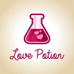 Valentines greeting card with love potion