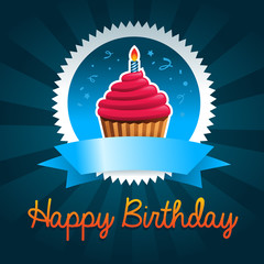 Colorful birthday card with cupcake