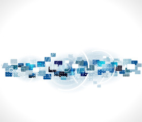 Abstract futuristic world & technology background, vector