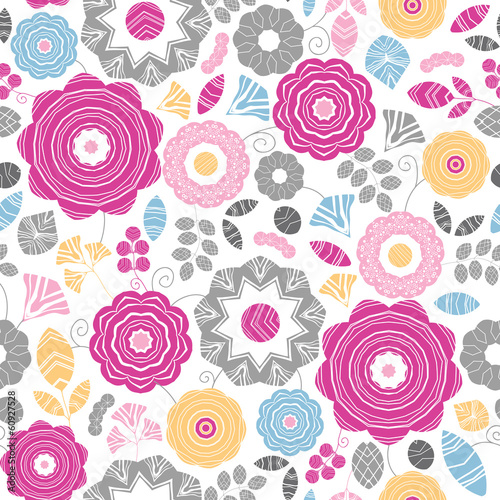 Vector vibrant floral scaterred seamless pattern background with