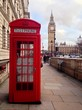 Red Telephone Booth and Big Ben in London, UK.