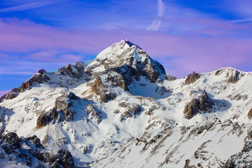 Peak of Triglav mountain covered with snow