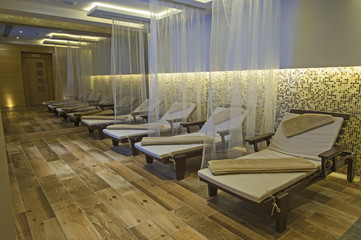 Relaxation area of a luxury health spa
