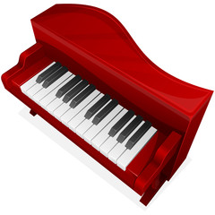 Vector icon. Red piano