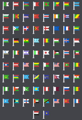 Vector flat modern flags of the world