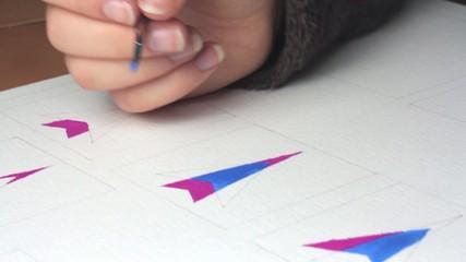 Closeup painting artistic paints.