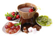Chocolate fondue with marshmallow  and fruits, isolated on