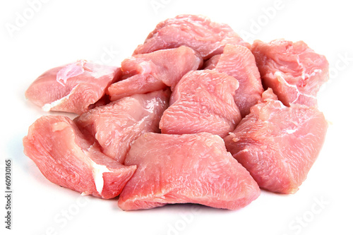 Raw turkey meat isolated on white