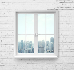 window with skyscraper view