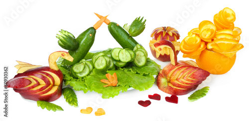 Carving vegetable and fruit patterns isolated on white