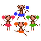 Four cute cheerleader monkey girls
