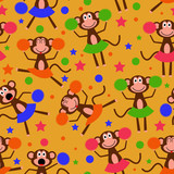 Seamless pattern with funny cute cheerleader monkey girls