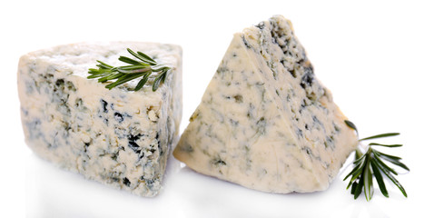 Tasty blue cheese with rosemary, isolated on white