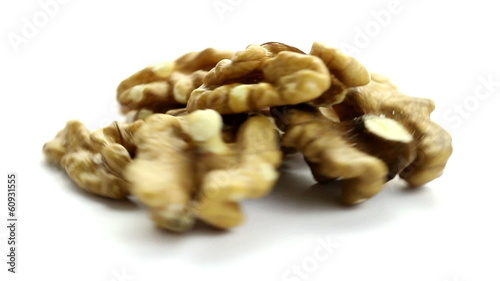 Nuts rotating, studio shot on white background