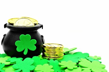 St Patricks Day Pot of Gold and shamrocks