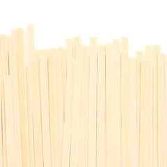 Japanese udon noodles isolated on white background.