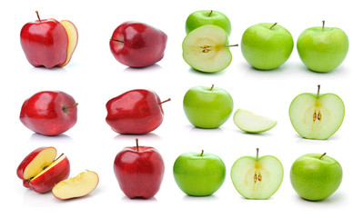 Red ripe and green apple isolated on white background