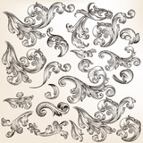 Floral set of vector decorative swirl elements in vintage style