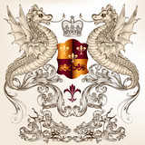 Heraldic design with dragons, fleur de lis and shield