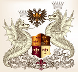 Heraldic design with dragons and shield