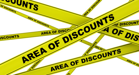 Yellow ribbons with the inscription AREA OF DISCOUNTS