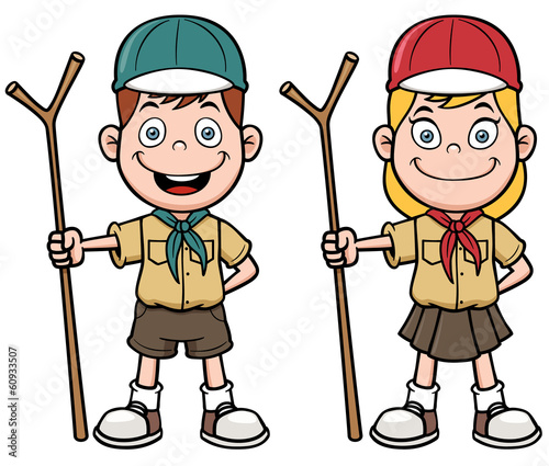 Vector illustration of Scout kids