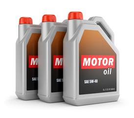 Three cans of motor oil