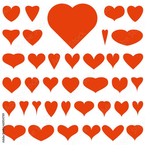Collection of red vector hearts for your design
