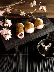Japanese sweets with cherry blossom