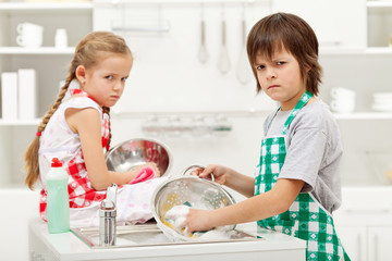 Kids having to do the dishes