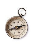 Magnetic compass on white