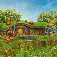 Zaczarowany domek na łące z kwiatami