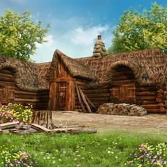 Drewniana chatka drwala
