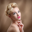 Beauty Portrait with make-up and hairstyle. Beautiful Woman Touc