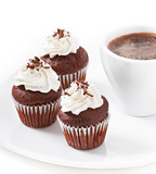 Chocolate muffins and cup of coffee