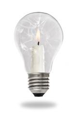 Candle lit steaming inside a broken light bulb