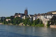 View of Basel and its Cathedral from the river Rhine