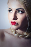 Beautiful Blond Woman with Heart on Lips.Make-up.Freak Girl