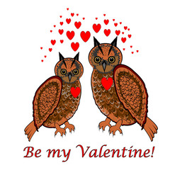 """A couple of owls with red hearts and words """"Be my valentine"""". De"""