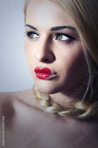 Beautiful Blond Woman with Heart on Lips.Make-up.Freak Girl