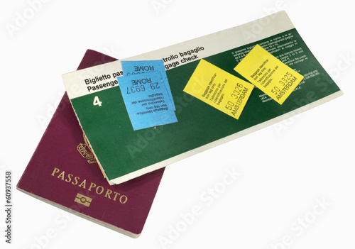 Airline ticket and passport